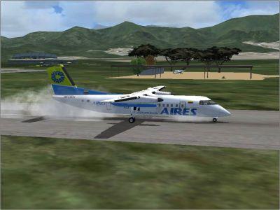 Plane landing at El Yopal Colombia.