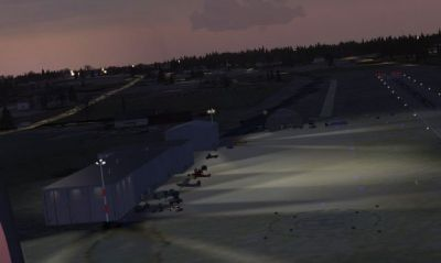 Night time screenshot of Elbert County-Patz Field scenery.