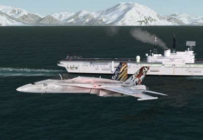 Screenshot of Jet flying past carrier in Alaska.