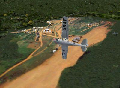 Screenshot of plane flying over Gia Nghia Scenery.