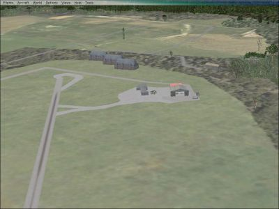 Aerial view of Gloriavale Airport Scenery.