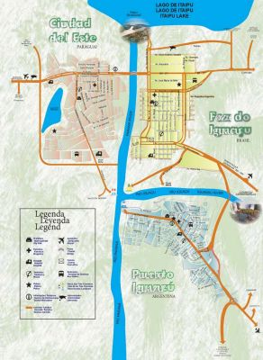 Map of Iguassu Falls and scenery.
