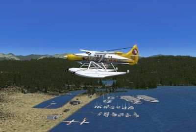 Screenshot of a plane flying over Katie's Lagoon.