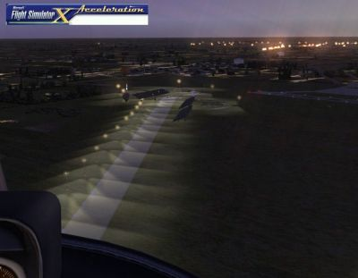 Screenshot of Kearney Regional Airport runway at night.