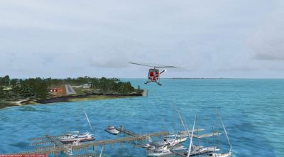 Screenshot of helicopter flying over harbor.