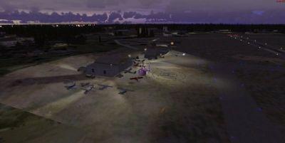 Night time screenshot of Mac Crenshaw Memorial Airport scenery.