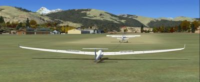 Screenshot of glider on the ground at Mont-Louis la Quillane Airport.
