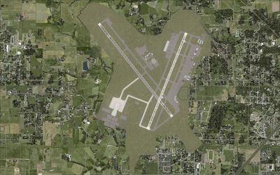 Aerial shot of New Springfield-Branson Airport.