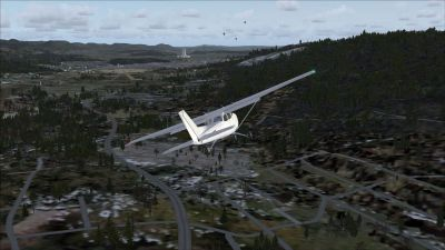 Screenshot of plane flying over Olten Switzerland Scenery.