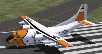 US Coast Guard plane on runway.
