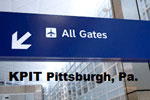 Sign pointing to all gates at KPIT Pittsburgh, Pa.