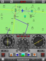 Screenshot from the Radio Navigation Simulator on the iPad.