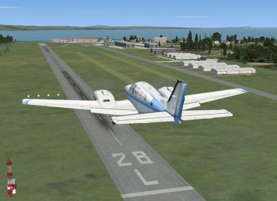 Screenshot of a plane approaching runway at St.Gallen Altenrhein Airport.