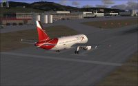 Screenshot of plane on runway at Toncontin Airport.