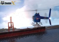 Screenshot showing a helicopter approaching a boat in FSX.