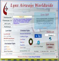 Lynx Airways Worldwide virtual airline website screenshot, January 2012.