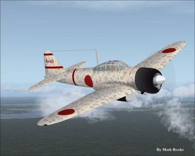 Screenshot of A6M2 Zero in camo paint.