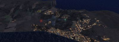 Aerial view of Adams Island at night.