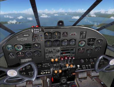 Virtual cockpit of Beech C45H Expeditor Cargo Plane.
