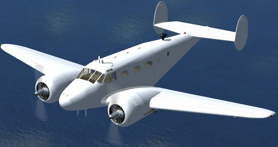 beechcraft d18s snb   aircraft paint kit for fsx