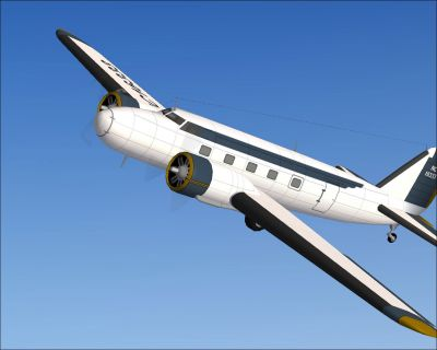 Screenshot of blue and gold Boeing 274D in the air.