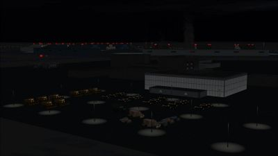 Screenshot of CFB North Star scenery at night.