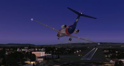 Screenshot of plane on landing approach at Caldas Novas Airport.
