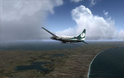 Screenshot of plane flying over Chatham Islands.