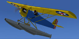 Screenshot of blue and yellow Corben Ace Baby on floats.