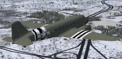 Screenshot of Douglas C-47 Skytrain in flight.