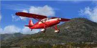 Screenshot of a red Fairchild 24 R in flight.