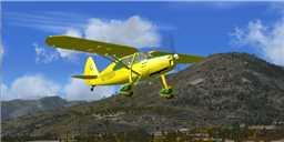 Screenshot of a yellow Fairchild 24 R in flight.