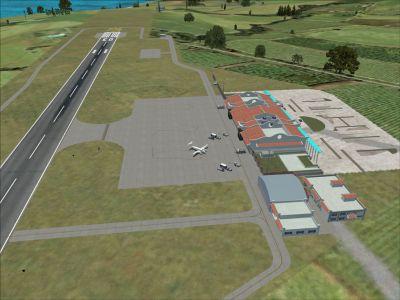 Aerial view of Formosa X RCFG Nangan Airport.