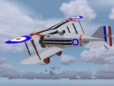 Screenshot of Gloster Grebe J-7363 in flight.
