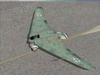 Screenshot of green Horten Ho-229 on the ground.