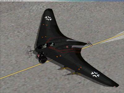 Screenshot of black Horten Ho-229 on the ground.