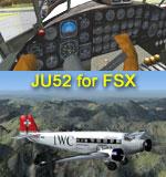 Top: Virtual cockpit of Junkers Ju52 IWC. Bottom: Screenshot of Junkers Ju52 IWC in the air..