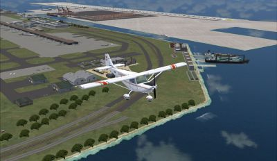 Screenshot of plane flying over Kansai Int'l Airport Scenery.