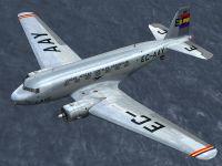 Screenshot of LAPE Douglas DC-2 EC-AAY in the air.
