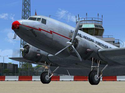 Screenshot of LAPE Douglas DC-2 on the ground.