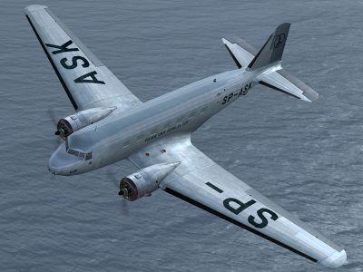 Looking down on LOT Douglas DC-2 in flight.