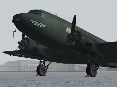 Screenshot of Luftwaffe Douglas DC-2 'NA+LA' on the ground.