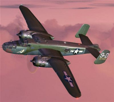 Screenshot of MAAM-Sim B-25 Mitchell in flight.
