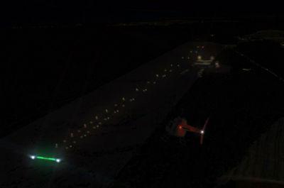 Screenshot of MYEH runway at night.