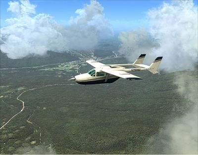 Screenshot of plane flying over Mt Washington scenery.