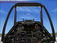 Virtual cockpit of North American P-51 Mustang.