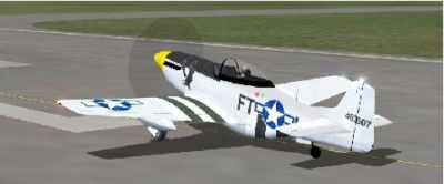 Screenshot of North American P-51 Mustang on runway.