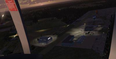 Screenshot of Peach State Airport at night.