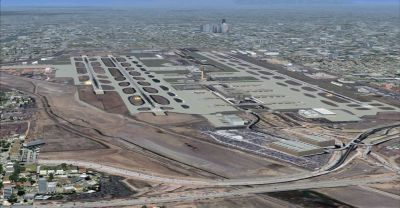 Aerial view of Phoenix Sky Harbor International Scenery.
