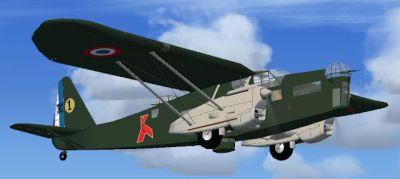 Screenshot of Potez 540 in flight.